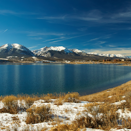 Dillon Winter by Lizzy Foxx - Landscapes Mountains & Hills ( reservoir, reflection, winter, mountain, dillon, snow, colorado, lake )