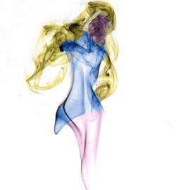 Lady in Smoke by Paul Raybould - Abstract Patterns ( blue, woman, lady, pink, yellow, smoke )