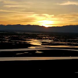 Bayanbulak Xinjiang China by Lim Wah - Landscapes Sunsets & Sunrises ( mountain, sunset, meadow, xinjiang, china, river )
