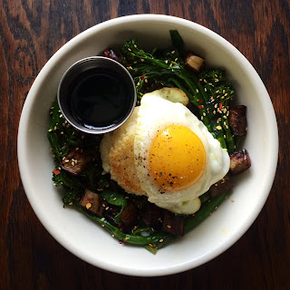 Crispy Rice with Collards, Eggplant, Broccolini and Sunny-Side Up Egg