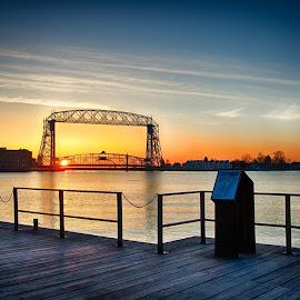 Lift bridge at sunrise by Rj Smith - City,  Street & Park  Vistas ( sky, pier, sunrise, bridge, waterfront )