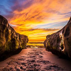 Symmetry by Gary Kasl - Landscapes Beaches ( canon, water, sand, san diego, beaches, warm, sky, hdr, sunset, beautiful, beach, la jolla )