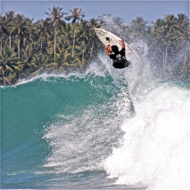 airtime by Magdalena Wysoczanska - Sports & Fitness Surfing ( water, airtime, surfing, indonesia, waves, palm trees )
