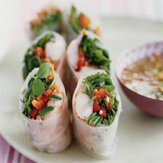 Shrimp and Crunchy Vegetable Spring Rolls with Sweet and Sour Chili Sauce