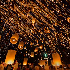 Yi Peng Lantern Festival Celebration by Joseph Goh Meng Huat - City,  Street & Park  Night ( canon, canon 5diii, thailand, yi peng lantern festival, tourism, travel, people, photography, lantern, night photography, joseph goh meng huat, long exposure, night, festival, celebration, chiang mai, travel photography )
