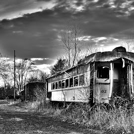 Better Days by Nathanial Brown - Transportation Trains ( clouds, b&w, hdr, america, railraod )