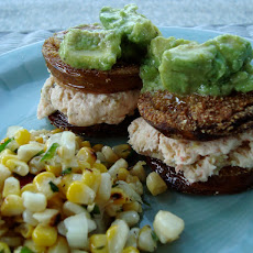 Fried Green Tomato Sandwiches with a Shrimp Spread Filling
