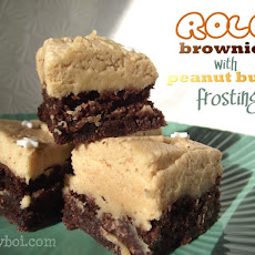 Rolo Brownies with Peanut Butter Frosting