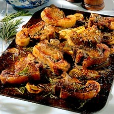 Baked Lamb with Potato, Garlic and Rosemary