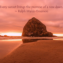 Every Sunset Brings the Promise of a New Dawn by Jennifer McWhirt - Typography Quotes & Sentences ( quotes, photographybyjenmcwhirt.com, haystack rock, oregon coast, typography, landscape )