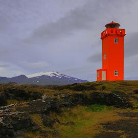 Red lighthouse by Bradford Fenton - Landscapes Travel ( orange, mountains, lighthouse, solitude, seascape, novel )