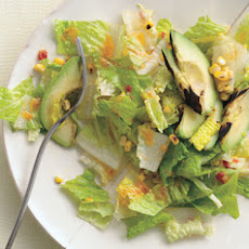 Romaine, Grilled Avocado, and Smoky Corn Salad with Chipotle-Caesar Dressing
