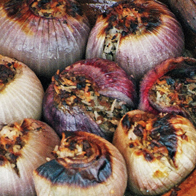 Roasted Stuffed Red Onions