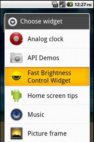 Fast Brightness Control Widget