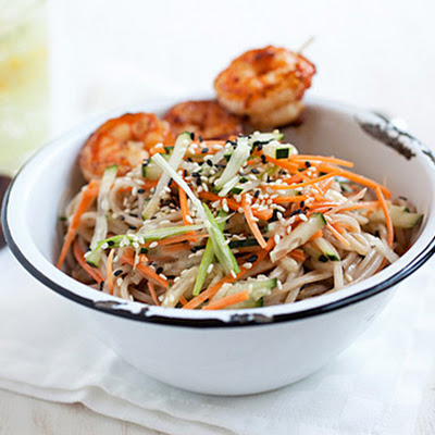Cold Sesame Noodles with Butter Pepper Shrimp