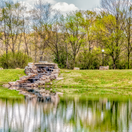 Rock Waterfall and Lake by Jeff Beer - City,  Street & Park  City Parks ( reflection, waterfall, rock, lake, clinton, spring, arkansas )