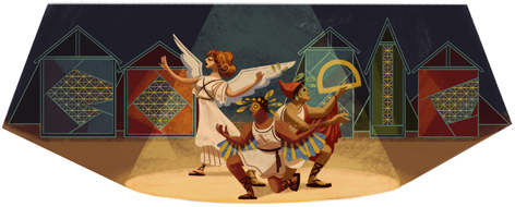 Google Doodle Karolos Koun's 105th Birthday