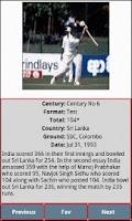 Screenshot of Sachin's Centuries