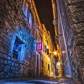 Trogir nights by MIhail Syarov - City,  Street & Park  Street Scenes ( blue, old city, lamp, trogir, night, , orange. color )