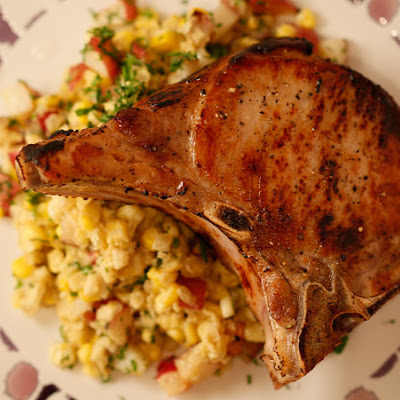 Pork Chops with Herb Creamed Corn