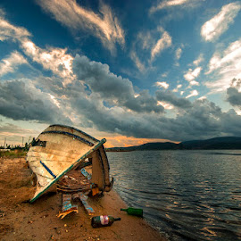 loneliness by Enver Karanfil - Transportation Boats ( old, boats, sea )