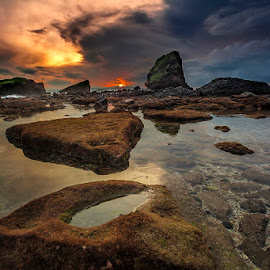 Stepping Stones by Andy R Effendi - Landscapes Sunsets & Sunrises ( jember, seascapes, indonesia, landscape, rocks, papuma )