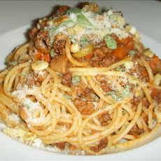 Spaghetti With Olive-Walnut-Bolognese