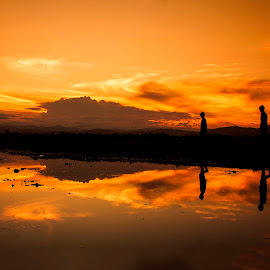 Childreen Walking in Twilight by Edwin Prihartanto - Landscapes Sunsets & Sunrises