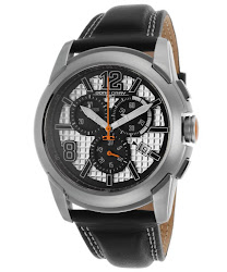 Jorg Gray Men's Chronograph Silver Textured Dial Black Genuine Leather