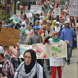 Palestinian Protest March-Denver,Co by Chris Goodwin - News & Events Politics ( muslims, gaza, palestine, protest, palestinians, israel, middle east, people, crowd, humanity, society )