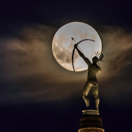 Indian on top of capital of Kansas by Esther Lane - Buildings & Architecture Statues & Monuments ( moon, topeka, statues, indian, full moon, monument, kansas,  )