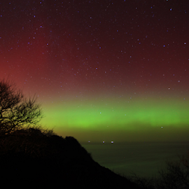 Aurora over Yorkshire by Steve BB - City,  Street & Park  Skylines ( lights, robin hoods bay, uk, borealis, yorkshire, aurora, ravescar, weather, solar, coast )