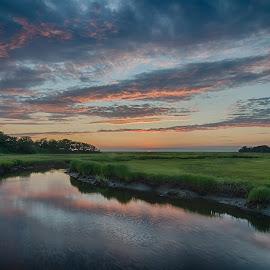 by Steve Morrison - Landscapes Sunsets & Sunrises ( sunset, eastham, boat meadow river, cape cod )