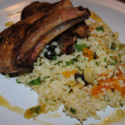 Marinated lamb chops with Moroccan spiced bulgar wheat
