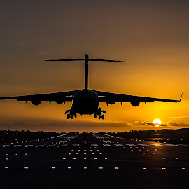 by Ollie Kearsey - Transportation Airplanes ( c-17, transport, sunset, aircraft, raf )