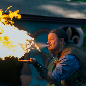 Human Flamethrower by Andy Chow - News & Events Entertainment ( fireeating, fire )