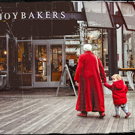 Grandma's Are the Best! by Kelli Tinker - People Street & Candids ( child, bakery, grandma, red coats )