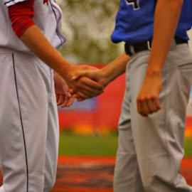 Good Game by Amy Clark - Sports & Fitness Baseball ( baseball, good, game, sectionals, handshake )