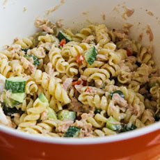 Tuna Pasta Salad Recipe with Lemon, Green Olives, and Cucumbers