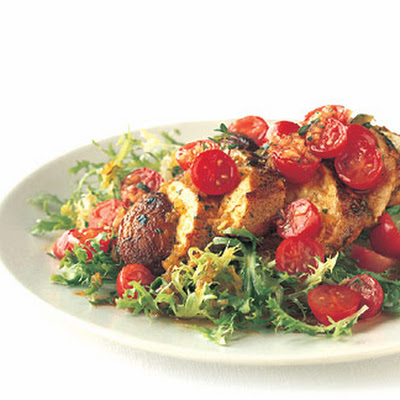 Sauteed Chicken with Tomato-Saffron Vinaigrette on Frisée