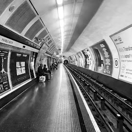 Mind the Gap by Paulo Peres - Transportation Other ( subway, london, black and white, commute, perspective, travel, underground, city )