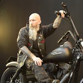 Harley Hog by Paul Coomber - People Portraits of Men ( harley davidson, beards, motor bikes, men )