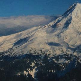 Mt. Hood - Digital Painting by Kay Martin - Digital Art Places ( kay martin, volcano, snow, cascades, mt hood, aerial photos, portland oregon )