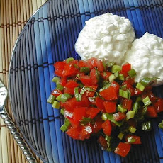 Tomato Salad Served With Cottage Cheese