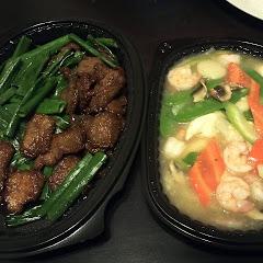 GF Mongolian Beef and Moo Goo Gai Pan