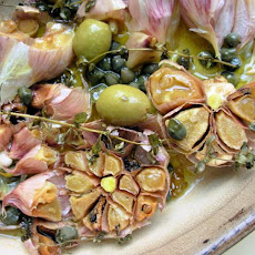Garlic Olive Oil Plate With Capers