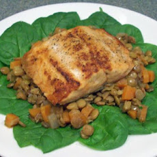 Lemon Broiled Salmon With Lentils