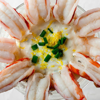 Poached Shrimp with Sour Cream Horseradish Dipping Sauce
