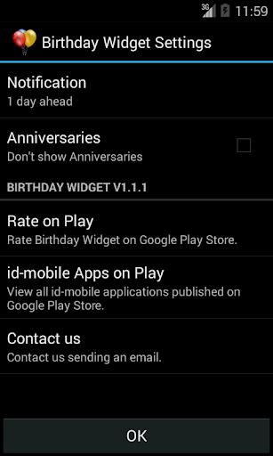 Birthday Widget - screenshot