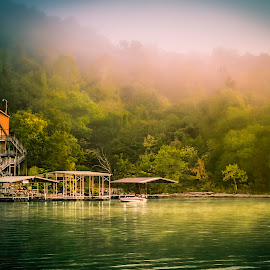 Morning Glory by Jay Snell - Landscapes Waterscapes ( water, green color, morning light, fog, peace, lake, boat,  )